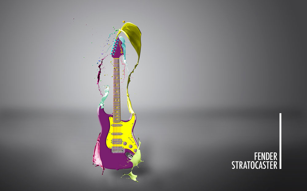 Fender Stratocaster Photoshop Splash Paint Poster Design ©2014 Allison Holden